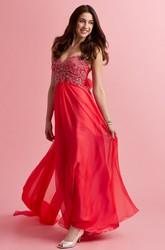 A-Line Maxi Sweetheart Sleeveless Chiffon Watteau Train Backless Dress With Beading
