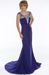 Sheath Scoop-Neck Floor-Length Cap-Sleeve Ruched Chiffon Prom Dress With Beading
