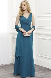 Maxi Sleeveless Ruched V-Neck Jersey Mother Of The Bride Dress With Appliques And Cape