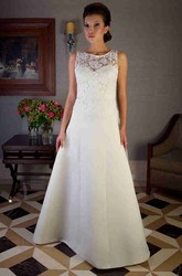 A-Line Sleeveless Scoop-Neck Long Appliqued Satin Wedding Dress