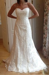 Sheath Sweetheart Lace Backless Zipper Wedding Gown