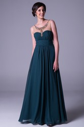 A-Line Scoop-Neck Long Ruched Sleeveless Chiffon Prom Dress With Beading