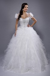 Organza Sweetheart Ball Gown With Illusion Cape And Cascading Ruffles