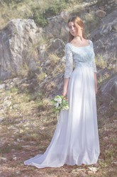 Scoop Illusion Sleeve Long Chiffon Wedding Dress With Lace And Button Back