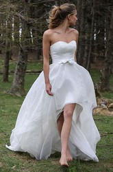 A Line Sweetheart Chiffon Backless Zipper Wedding Gown