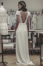 Plunging Puff Sleeve Open Back Cute Lace And Satin Wedding Dress