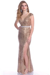 V-Neck Cap Sleeve Sequined Prom Dress With Side Slit