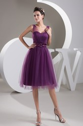 Modern Grape Tulle Knee-Length Short Formal Dress with Floral Waist