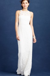 Pencil Scoop-Neck Sleeveless Split-Back Floor-Length Lace Wedding Dress