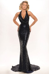 Sheath Sleeveless Floor-Length Beaded Halter Sequins Prom Dress With Backless Style And Sweep Train