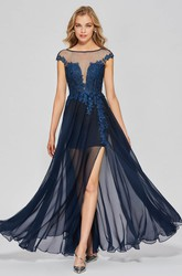 Lace Appliqued A-line Sexy Split Front Bateau Chiffon Gown With Deep V-back