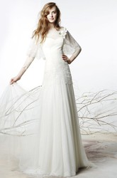 Sheath Floor-Length Bateau Floral Long-Sleeve Tulle Wedding Dress With Illusion Back And Lace