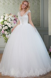 Floor-Length V-Neck Beaded Ruched Tulle Wedding Dress With Chapel Train And Lace Up