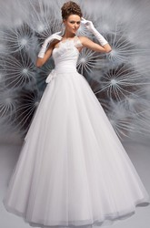 A-Line Ball-Gown Floor-Length Sleeveless Floral Strapless Tulle Wedding Dress With Appliques And Ruching