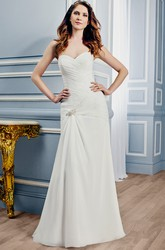 Sheath Sweetheart Chiffon Wedding Dress With Criss Cross And Zipper