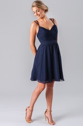 Mini Criss-Cross Spaghetti Sleeveless Chiffon Bridesmaid Dress With Straps