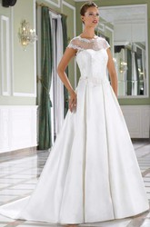 A-Line Scoop-Neck Cap-Sleeve Floor-Length Satin Wedding Dress With Appliques And V Back