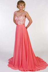 A-Line Scoop-Neck Appliqued Floor-Length Chiffon Prom Dress With Pleats