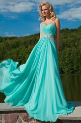 Sweetheart Ruched Floor-Length Sleeveless Chiffon Prom Dress With Waist Jewellery