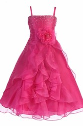 Ankle-Length Split Floral Beaded Organza Flower Girl Dress With Sash