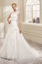 A-Line Appliqued Bateau-Neck Floor-Length Sleeveless Lace Wedding Dress With Waist Jewellery