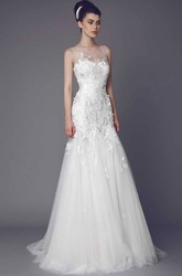 Bateau Long Appliqued Tulle Wedding Dress With Court Train And Illusion