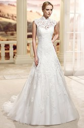 A-Line Sleeveless Appliqued High-Neck Floor-Length Lace Wedding Dress