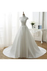 High Neck Illusion Ball Gown Wedding Dress With Beadings And Appliques