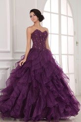 A-Line Sweetheart Ball Gown Prom Dress With Organza Ruffles And Beading