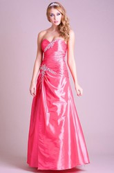 A-Line Floor-Length Ruched Sleeveless Sweetheart Satin Prom Dress With Beading And Draping