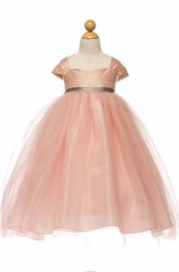 Tea-Length Ruched Cap-Sleeve Empire Tulle&Satin Flower Girl Dress