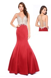 Mermaid Maxi V-Neck Sleeveless Satin Illusion Dress With Appliques