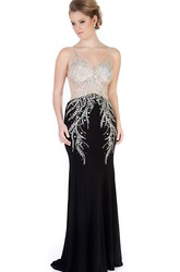 Sheath Beaded V-Neck Sleeveless Long Jersey Evening Dress
