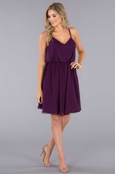 Mini Sleeveless Spaghetti Chiffon Bridesmaid Dress With Low-V Back