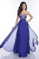 Empire Chiffon Sweetheart A-Line Prom Dress Featuring Jeweled Bust