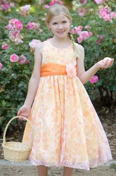Tea-Length Floral Floral Organza Flower Girl Dress
