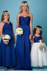 Criss-Cross Sleeveless Sweetheart Satin Bridesmaid Dress