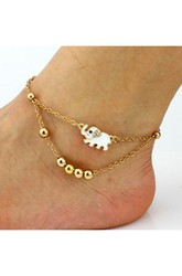 Diamond Elephant Beaded Bracelet Anklet Jewelry