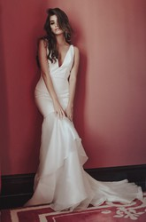 Sexy Deep V-neck Satin Wedding Dress With Tiers And Deep V-back