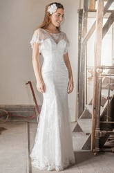 Bateau Floor-Length Appliqued Poet-Sleeve Tulle&Satin Wedding Dress