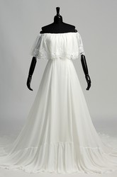 Chiffon A-line Off-the-shoulder Sleeveless Lace Wedding Dress with Pleats and Ruching