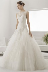 Lace Top Bateau Neck Drop Waist Bridal Gown With Layered Tulle Skirt