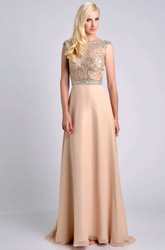 Jeweled Bodice Cap Sleeve Chiffon A-Line Prom Dress With Bateau Neck