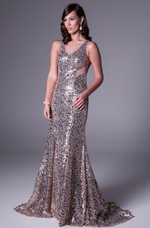 Sheath Floor-Length Sleeveless V-Neck Sequins Prom Dress