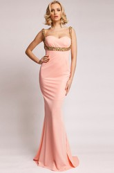 Sheath Strapped Sleeveless Beaded Long Jersey Prom Dress