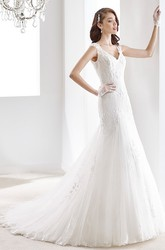 Cap Sleeve Lace Long Gown With Illusive Design And Keyhole Back