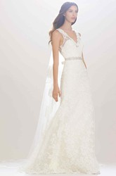 Sheath Sleeveless Appliqued V-Neck Lace Wedding Dress With Waist Jewellery And Bow