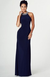 Sheath Long Sleeveless Beaded Scoop Chiffon Prom Dress With Illusion Back And Split Front