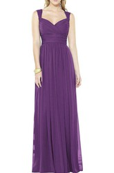 Queen Anne Long Chiffon Bridesmaid Dress with Ruching