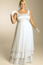 A-line Empire Tiered Dress With Waist Jewellery And Pleats